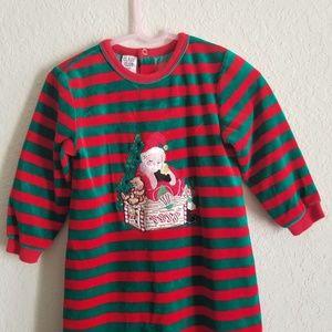 Class Club Pajamas - Christmas Holiday Santa Green Red One Piece Pajama